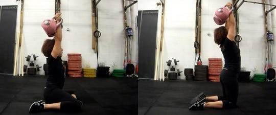 Double TGU Z pose/shin box to kneeling