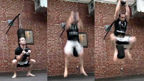 Stuntman Kettlebell Workout: Kettlebell Frog Jumps