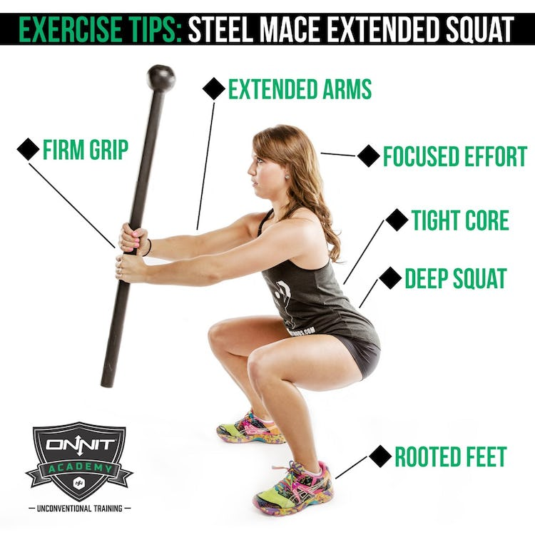Tips on how to properly perform the Steel Mace Extended Squat