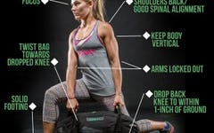 How to do the Twisting Back Lunge Sandbag Exercise.