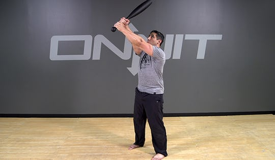 Steel Club Exercise: 2-Hand Angled Press