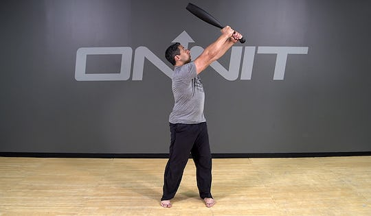 Steel Club Exercise: 2-Hand Side Angled Press