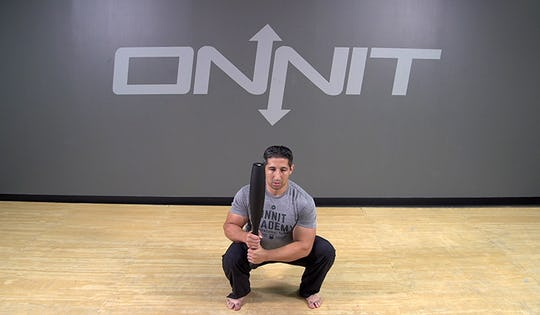 Steel Club Exercise: 2-Hand Ready Position Squat