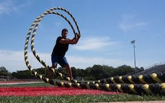 Brian Cushing Performs the Battle Ropes Outside Circle Waves Exercise as taught by trainer Joe Defranco