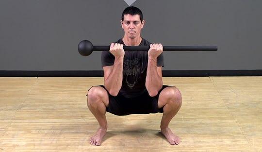 Steel Mace Exercise: Curl Grip Squat