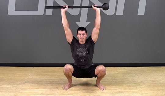 Steel Mace Exercise: Overhead Squat