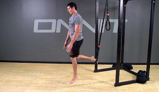 Suspension Exercise: 1-Leg Drop Step Explosive Ankle Touch