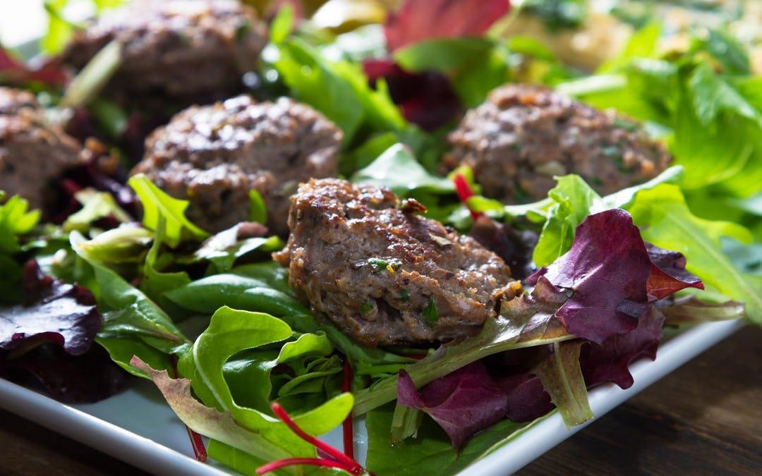 Lamb Burgers with Greek Salad & Coconut Tzatziki Recipe