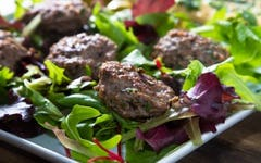 Lamb Burgers with Greek Salad & Coconut Tzatziki Recipe