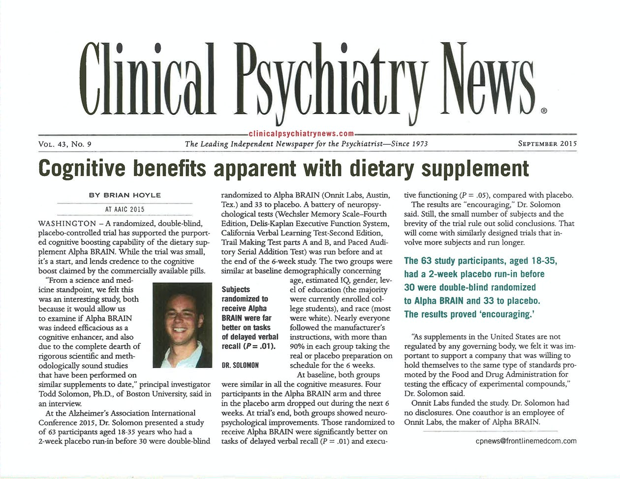 Study Links Dietary Supplement To Brain >> Clinical Psychiatry News Links Alpha Brain To Cognitive Benefits