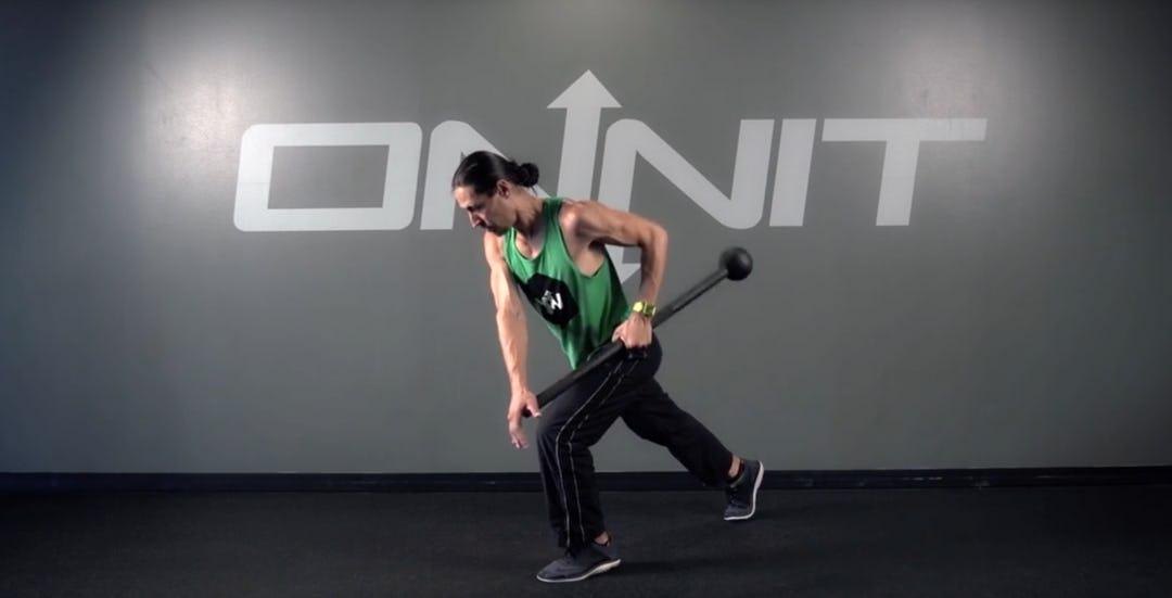 Split Stance Offset Side Row Steel Mace Exercise