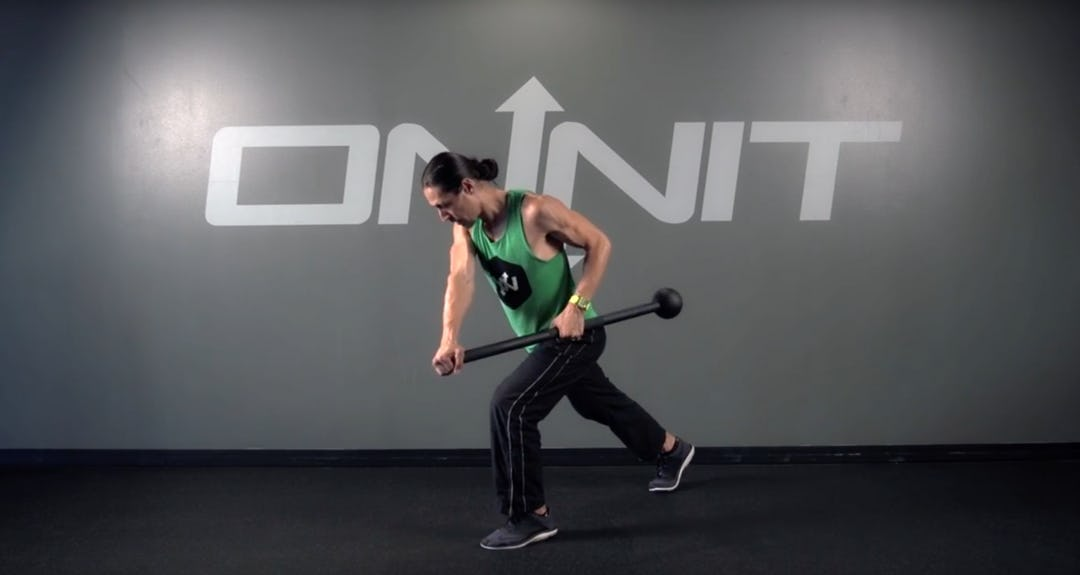 Rotating Split Stance Offset Side Row Steel Mace Exercise