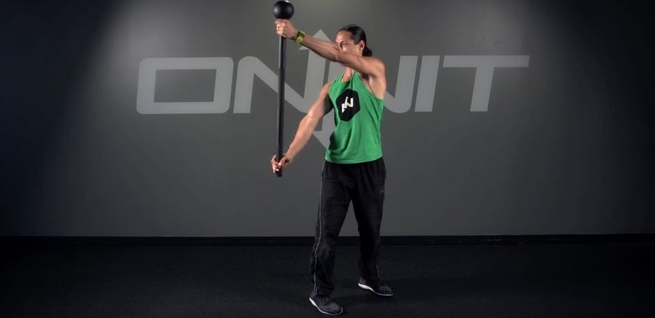 Double Wide Side Press Steel Mace Exercise