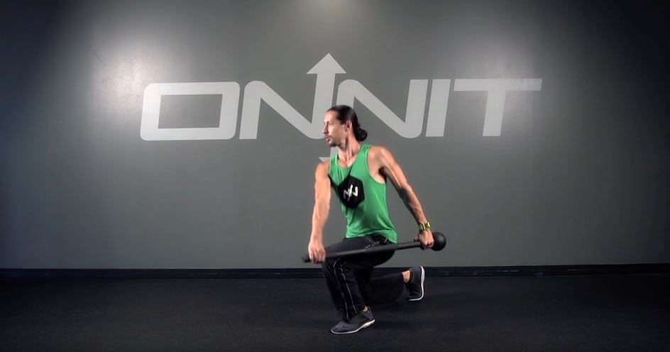 Side Load Reverse Lunge Steel Mace Exercise
