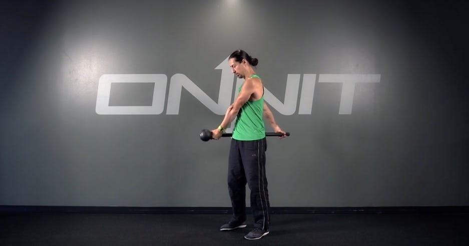 Marching Extended Shoulder Curl Steel Mace Exercise