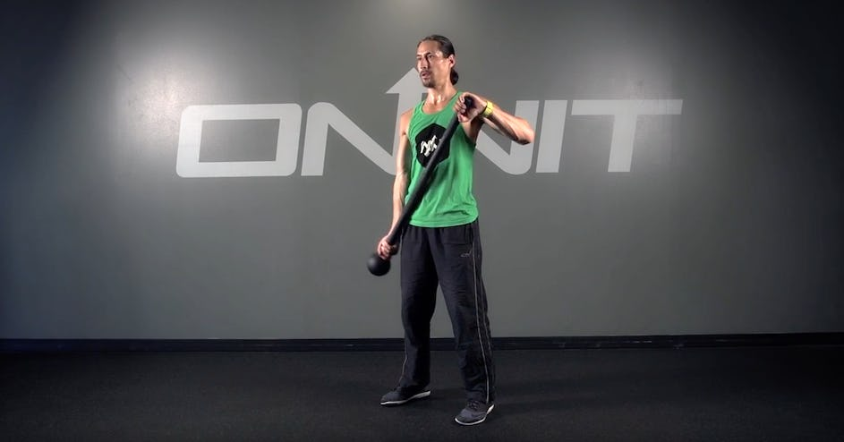 Offset Curl to Prayer Switch Steel Mace Exercise