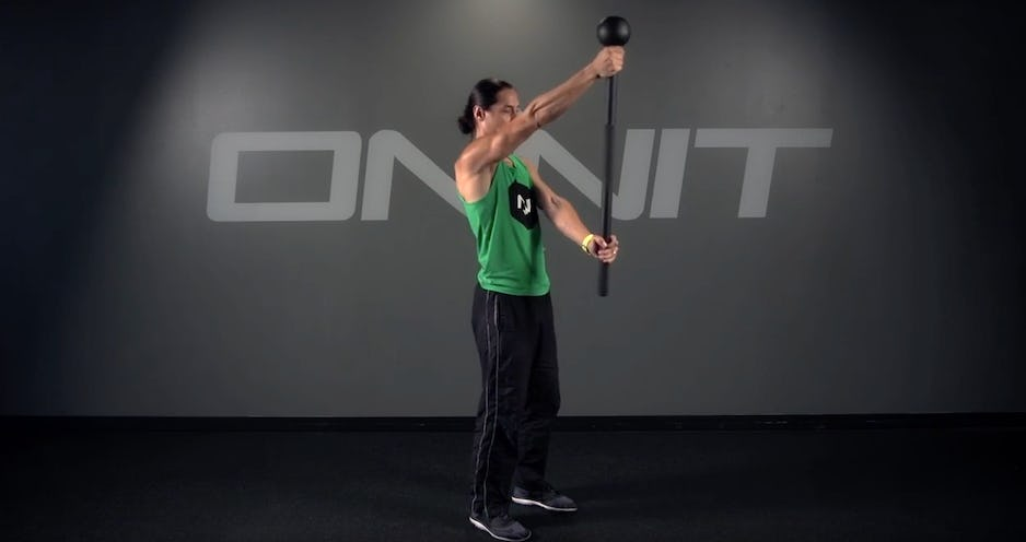 Sphere Near Front Press Steel Mace Exercise