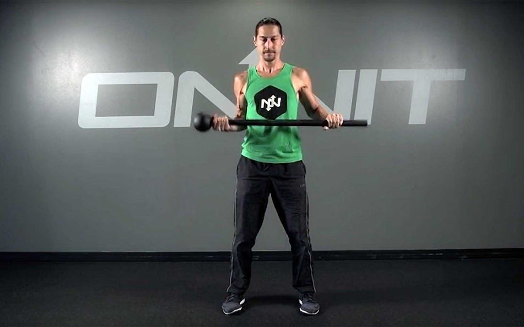 Stand Switch to Squat Steel Mace Exercise