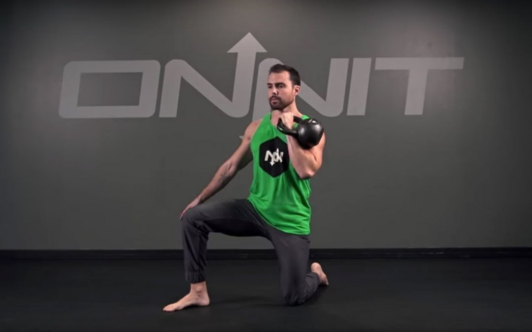 Half Kneeling One Arm Kettlebell Clean Exercise