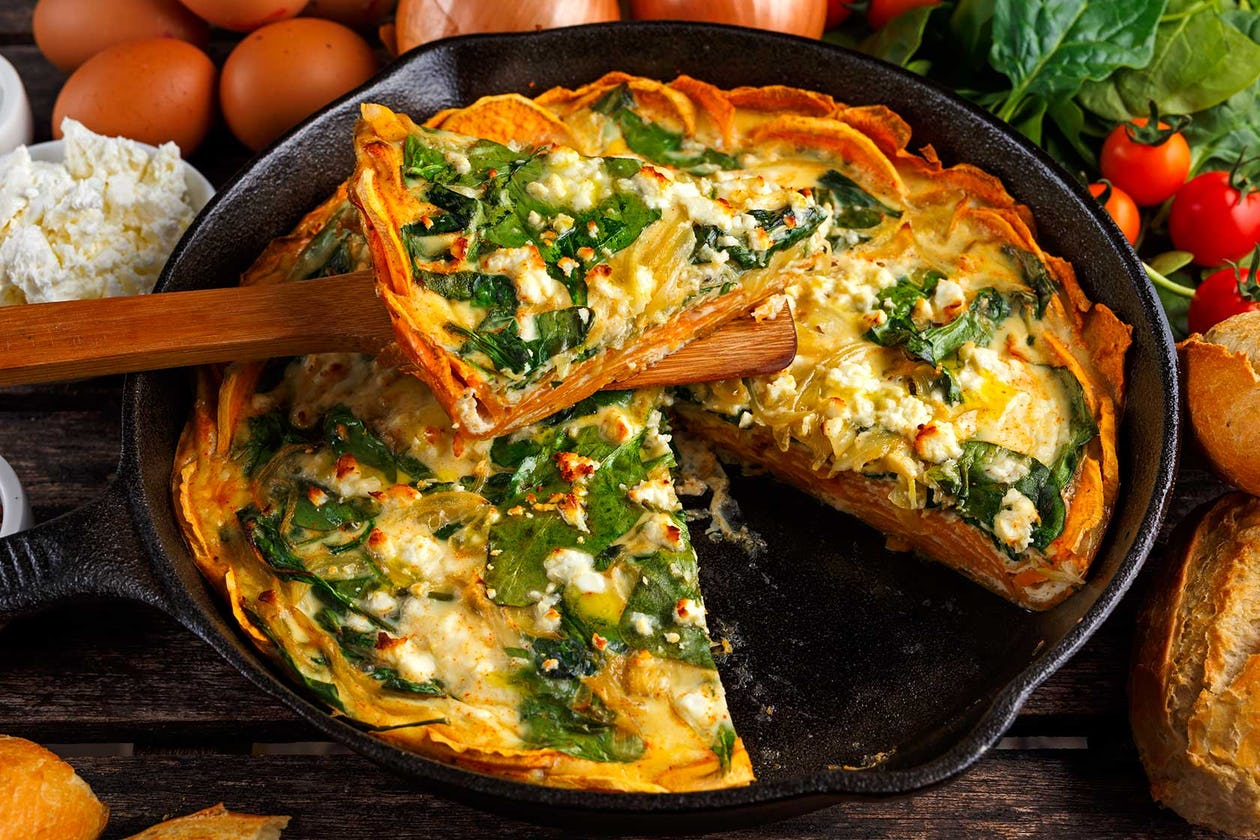 Sweet Potato Crusted Sausage & Spinach Quiche Recipe