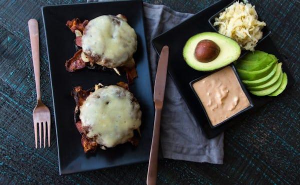 LUNCH Elk Recipes: Keto Open-Face 4-Meat Burger Melt